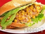 Лесен сандвич от франзела с царевица, риба тон и майонеза